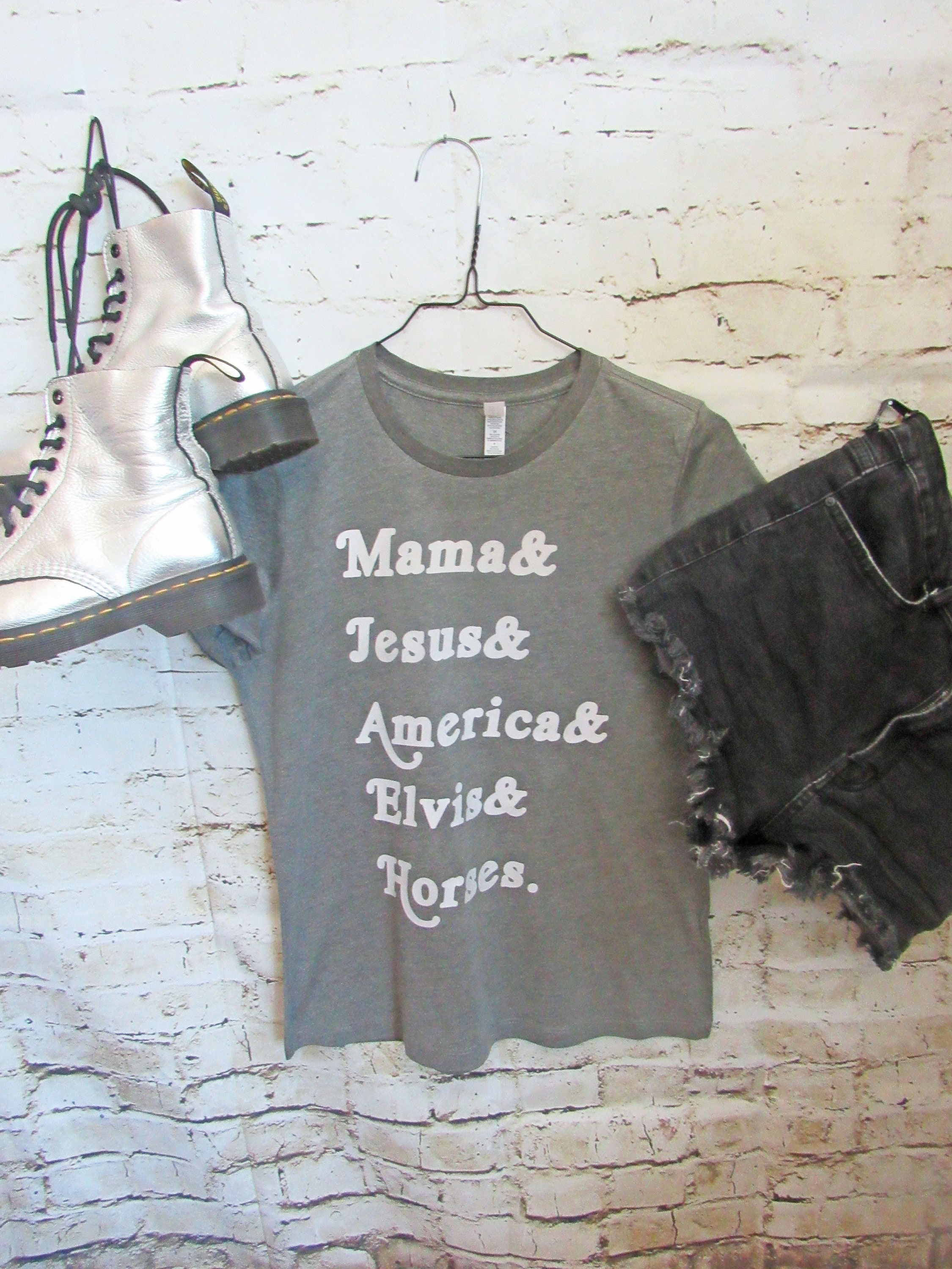 f9c9eff6 Tom Petty shirt/ Free Fallin' / Mama/Jesus/America/Elvis/Horses/ Womans  relaxed fit tee