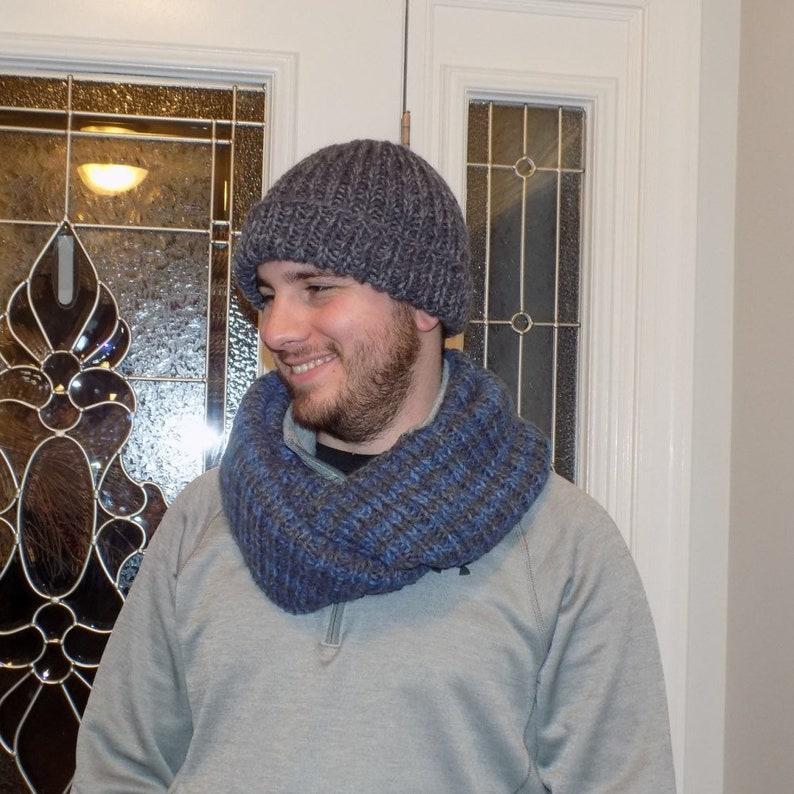 9ac86321f62 Mens Infinity Scarf Hand Knit Striped Scarf Knit Chunky
