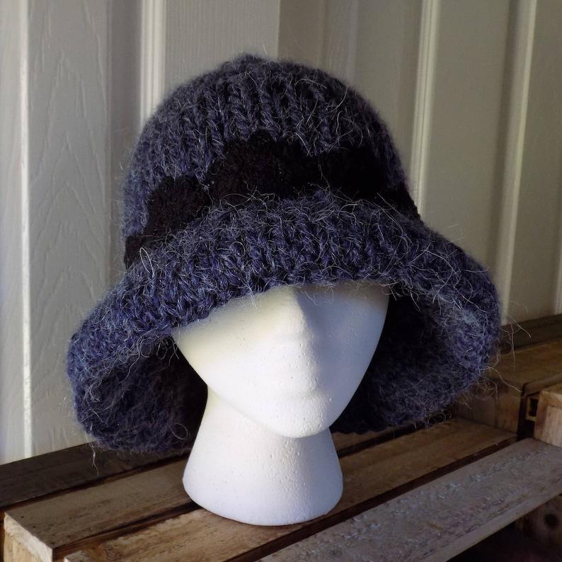 81ee31293ad Hand Knit Cloche Hat with Brim Navy Women s Winter Hat