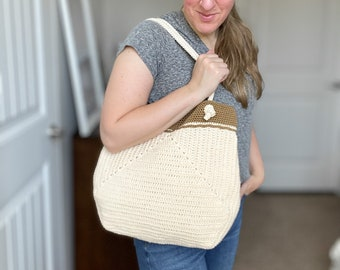 CROCHET PATTERN // easy modern granny square crochet tote bag carry-all beach bag purse  // Summer Chic Tote