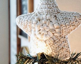 CROCHET PATTERN // christmas tree crochet modern farmhouse holiday xmas puff stitch star ornament skirt topper home decor // Snow Drift Set