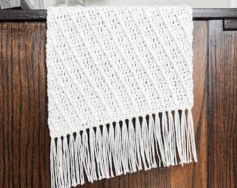 CROCHET PATTERN // crochet table runner modern diagonal texture cotton yarn farmhouse home decor housewarming // Cross Ridge Table Runner
