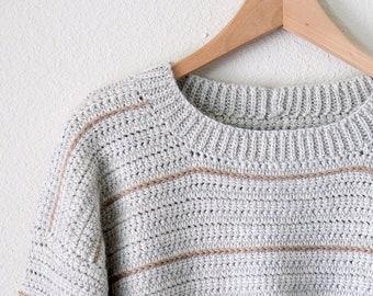 CROCHET PATTERN // modern crochet sweater sweatshirt pullover jumper oversized comfy classic striped crochet  // Comfy Classic Pullover