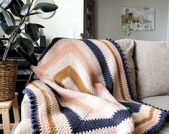CROCHET PATTERN // crochet throw blanket coverlet afghan home decor modern granny square geometric striped bobble puff st // Oasis Coverlet