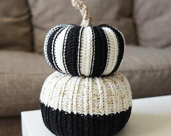 CROCHET PATTERN // modern crochet pumpkin striped sparkly colorblock farmhouse rustic home fall halloween decoration // Crochet Pumpkin