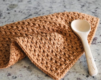 CROCHET PATTERN // modern crochet lace dish cloth towelette washcloth tea towel kitchen bathroom cotton linens // Garden Harvest Towelette
