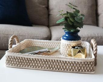 CROCHET PATTERN // crochet tray basket vase cozy home decor weaving coffee table modern farmhouse woven housewarming wedding gift