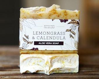 Lemongrass Soap - Lemongrass & Calendula Soap - Calendula Soap - All Natural Soap - Gentle Soap - Palm Free Soap