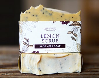 Lemon Scrub Soap - Exfoliating Lemon Soap - Exfoliating Soap - Poppy Seed Soap - Homemade Soap - All Natural Soap - Vegan Soap - Palm Free