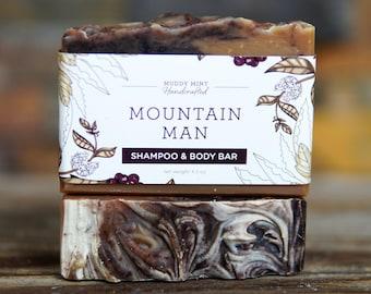 Mountain Man Shampoo & Body Soap - Manly Soap - Shampoo Bar for Men - Exfoliating Soap - Cedarwood Soap - Father's Day Soap