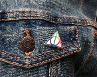 Harry Potter Inspired Pin // Deathly Hallows // Rainbow // Accessory // Jewelry // Gifts for Her // Gifts for Him