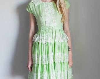 Vintage Mint Green Square Dance Dress 1950s 1960s
