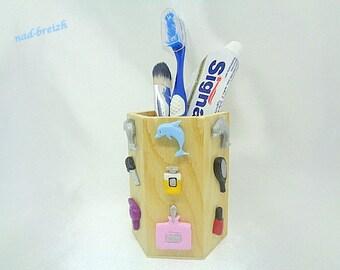 Pot à crayon bureau ou salle de bain en bois reine des etsy