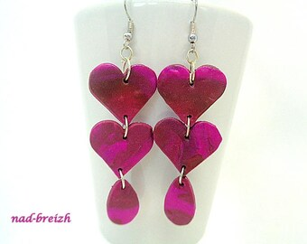 Polymer clay hearts, Teardrop pink and Brown - hand made polymer clay earrings