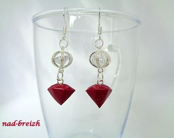 """Earrings Fimo polymer clay """"Diamond"""" Bordeaux red + white Crystal Bicone - hand made"""