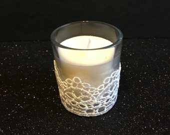 White lace votive candle, wedding candle decorations, lace theme
