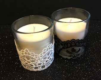 Lace votive candle, black and white, set of four