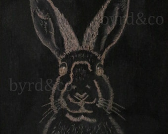 Digital Print- Instant Download- 16x20- Rabbit- Hand Drawn