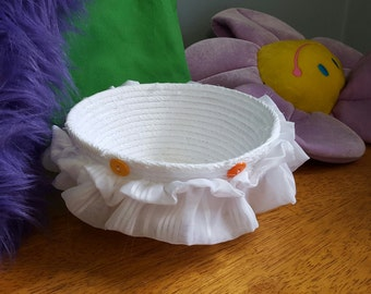 White Fabric Wrapped Coil Bowl with Ruffles and Buttons