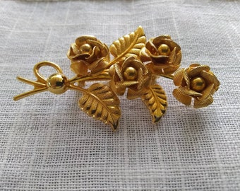 04f1ee8ce40 Vintage Gold Rose Brooch Pin Bouquet Gold Roses Brooch
