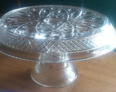 Glass Pedestal Cake Stand Vintage Predded Glass Pedestal Skirted Cake Plate Caje Stand