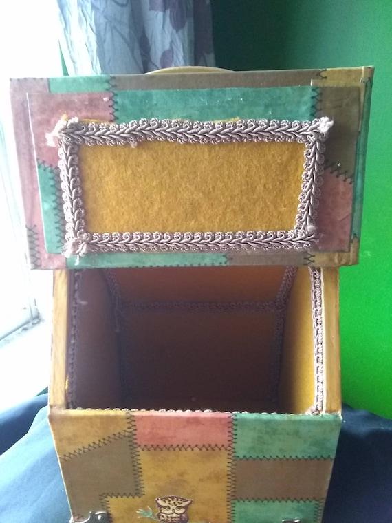 Box Purse Vintage Wooden Box Purse Owl - image 4