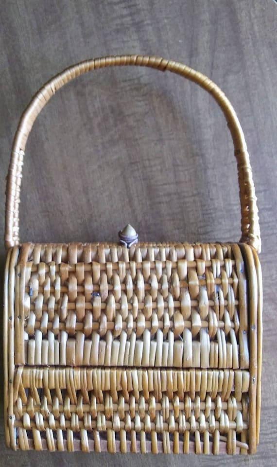 Vintage Wicker Basket Purse 1950's Wicker Purse - image 2