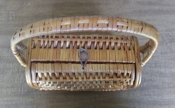 Vintage Wicker Basket Purse 1950's Wicker Purse - image 8