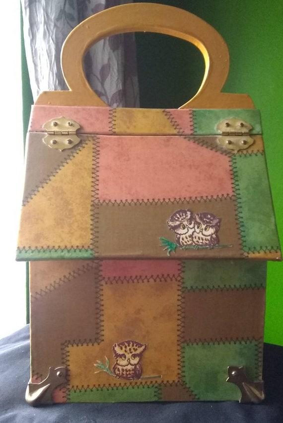 Box Purse Vintage Wooden Box Purse Owl - image 5