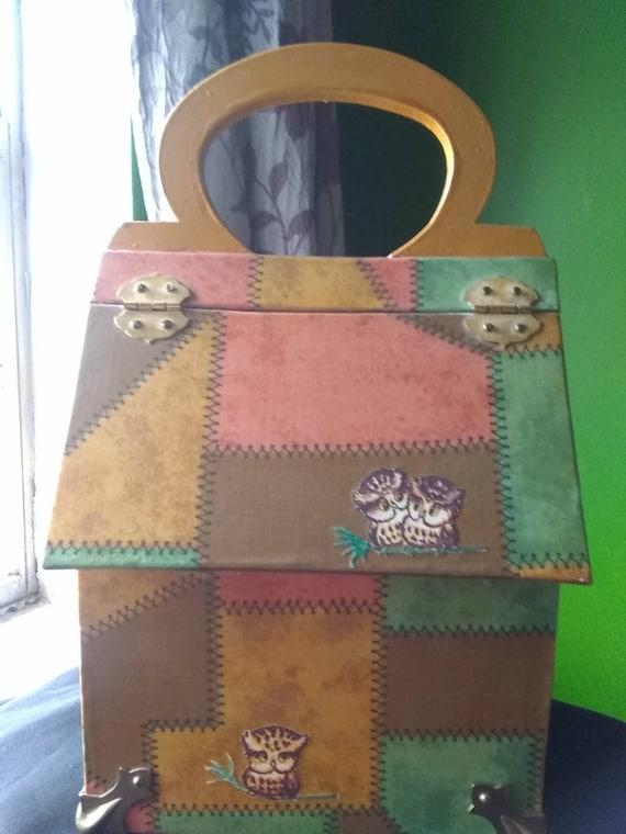 Box Purse Vintage Wooden Box Purse Owl - image 7