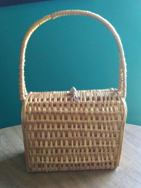 Vintage Wicker Basket Purse 1950's Wicker Purse
