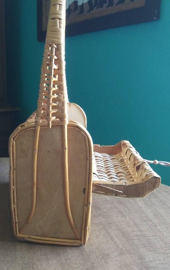 Vintage Wicker Basket Purse 1950's Wicker Purse - image 7