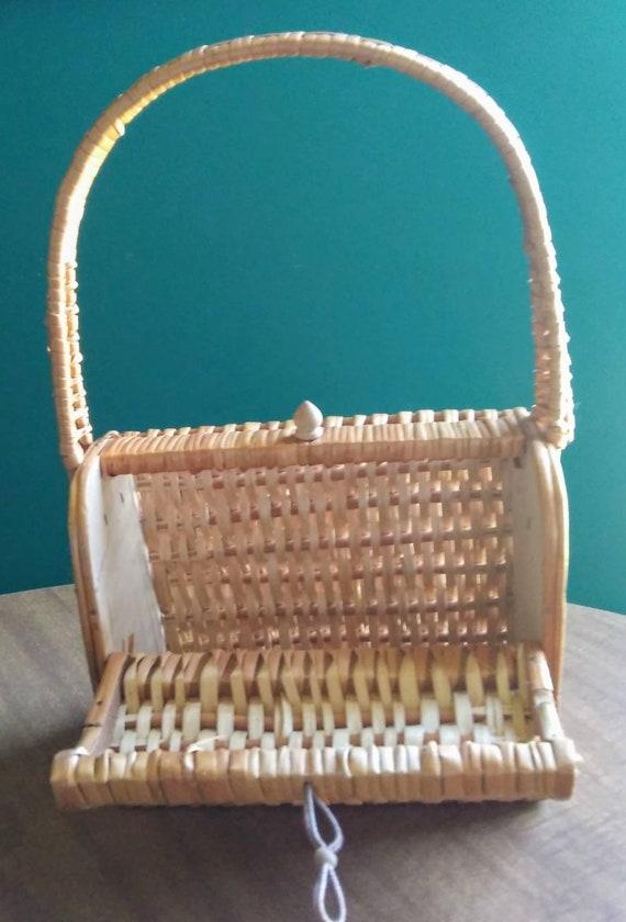 Vintage Wicker Basket Purse 1950's Wicker Purse - image 5