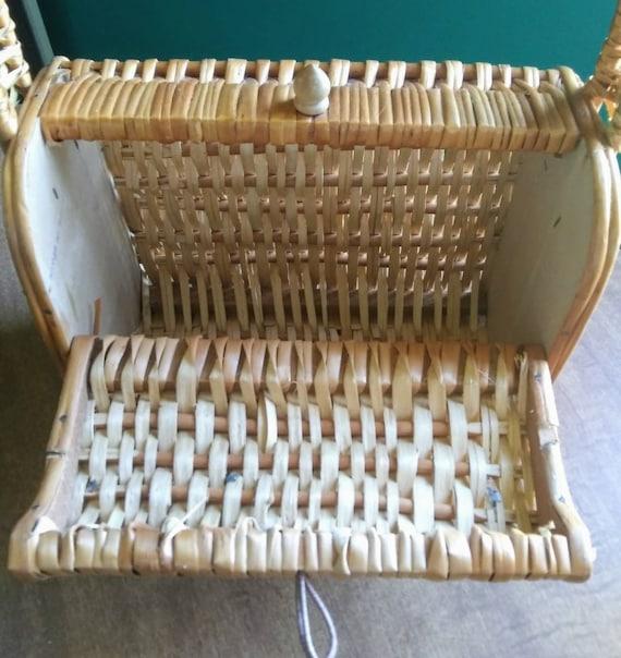 Vintage Wicker Basket Purse 1950's Wicker Purse - image 9