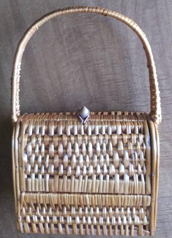 Vintage Wicker Basket Purse 1950's Wicker Purse - image 6