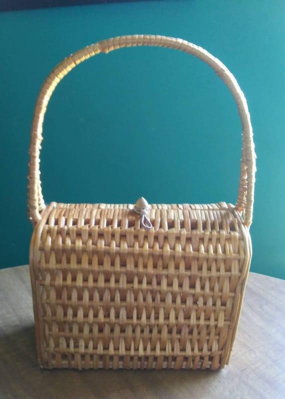 Vintage Wicker Basket Purse 1950's Wicker Purse - image 10