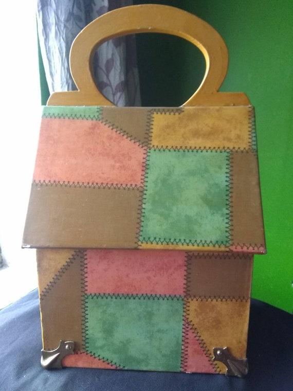 Box Purse Vintage Wooden Box Purse Owl - image 2