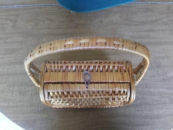 Vintage Wicker Basket Purse 1950's Wicker Purse - image 3