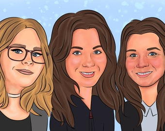 Caricature group, Caricature custom drawing, group gifts, wedding, caricature gift, cartoon portrait, personalized gift, custom portrait