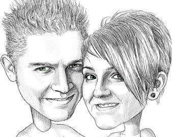 Caricature custom drawing, caricature wedding, caricature gift, cartoon portrait, personalized gift, family portrait, custom portrait