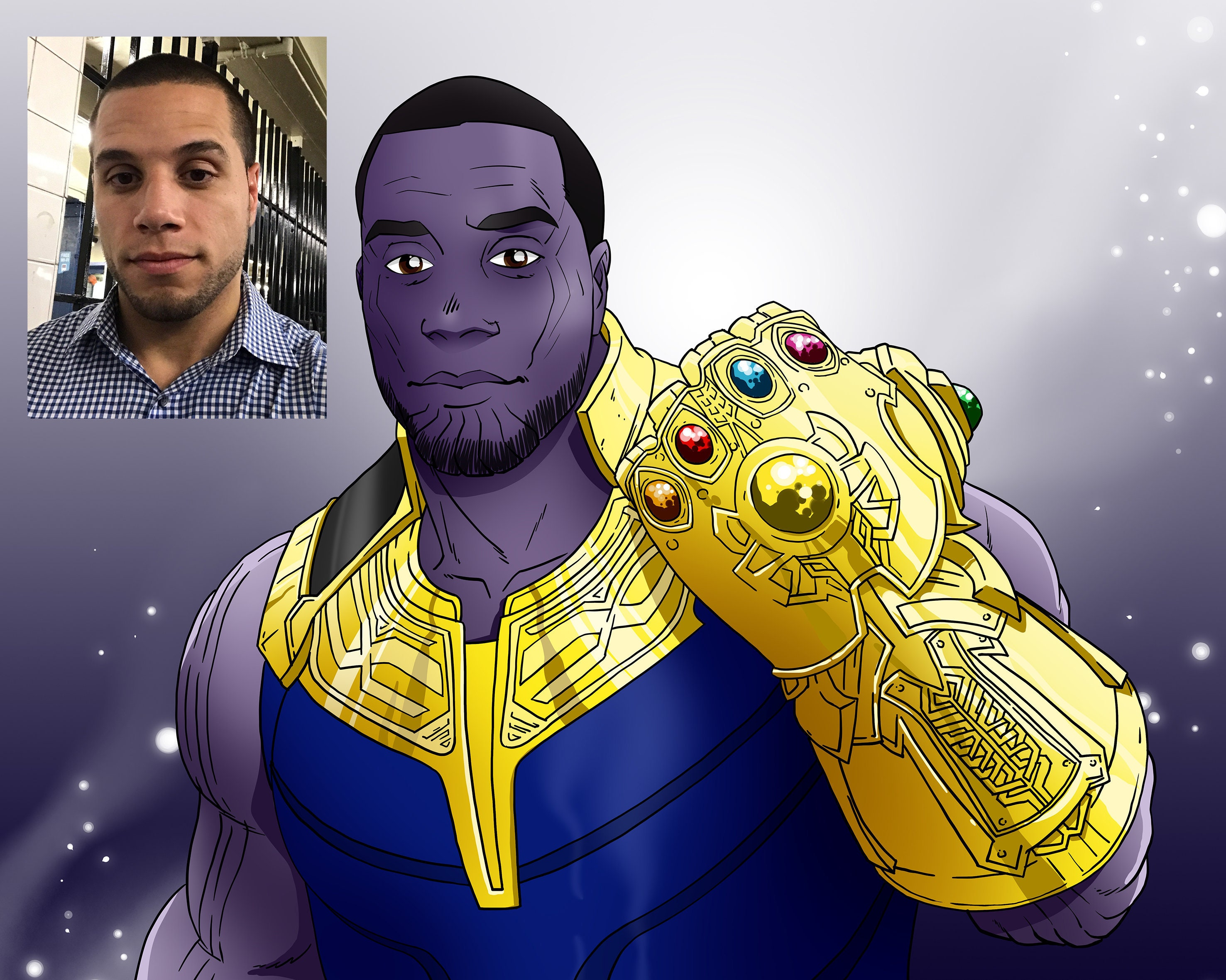 You as Thanos - Personalisiertes Cartoon-Superheld-Portrait, Thanos-Poster, Thanos-Kunst, individuelle Karikatur.