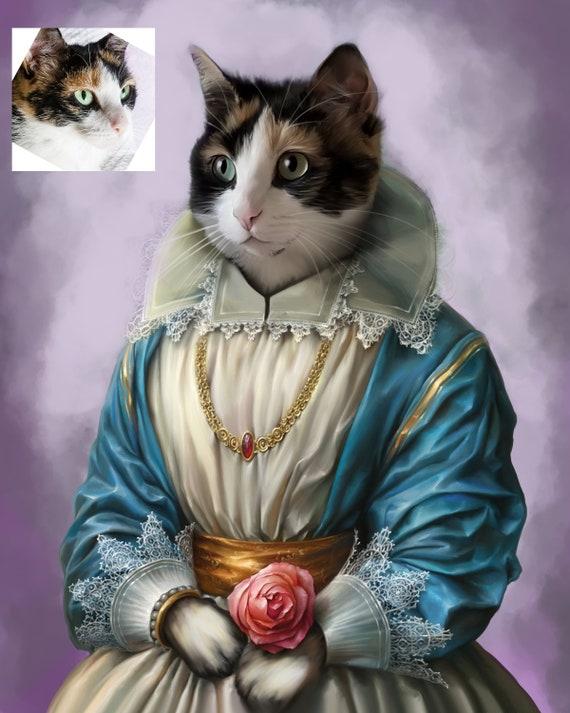 Custom Pet Portrait - Princess Cat Portrait, gift for pet lover - your pet as Queen or Princess