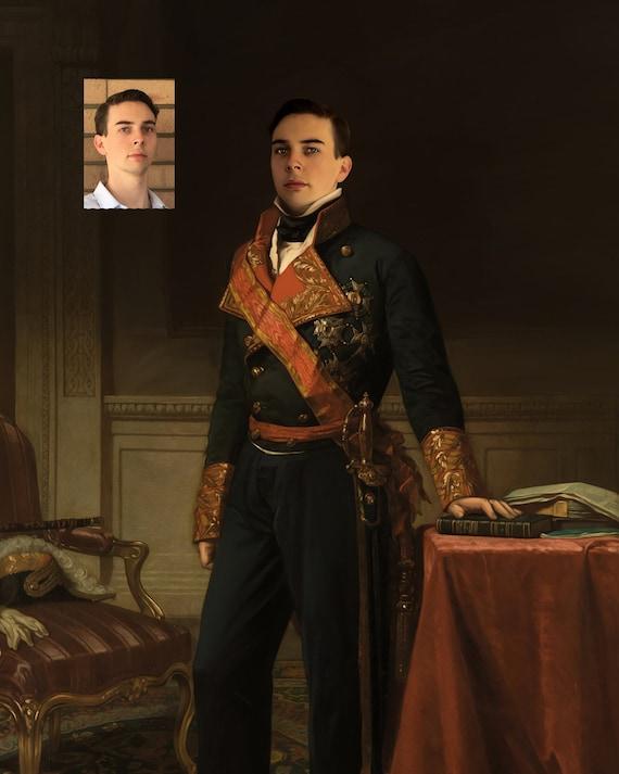 Custom war general portrait illustration, gift for boyfriend or brother, Personalized vintage illustration