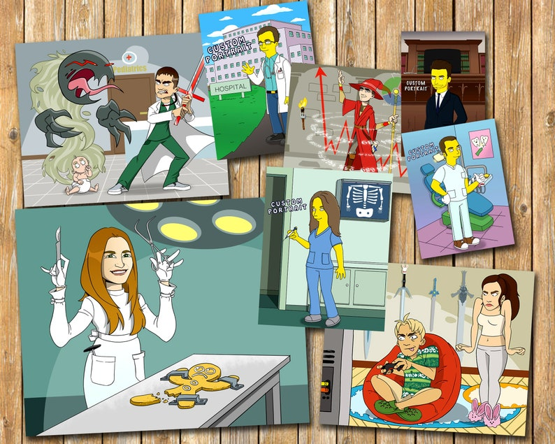 Pediatrician gift custom cartoon portrait,medical student gift,gift for doctor,personalized gift,graduation gift,portrait from photo