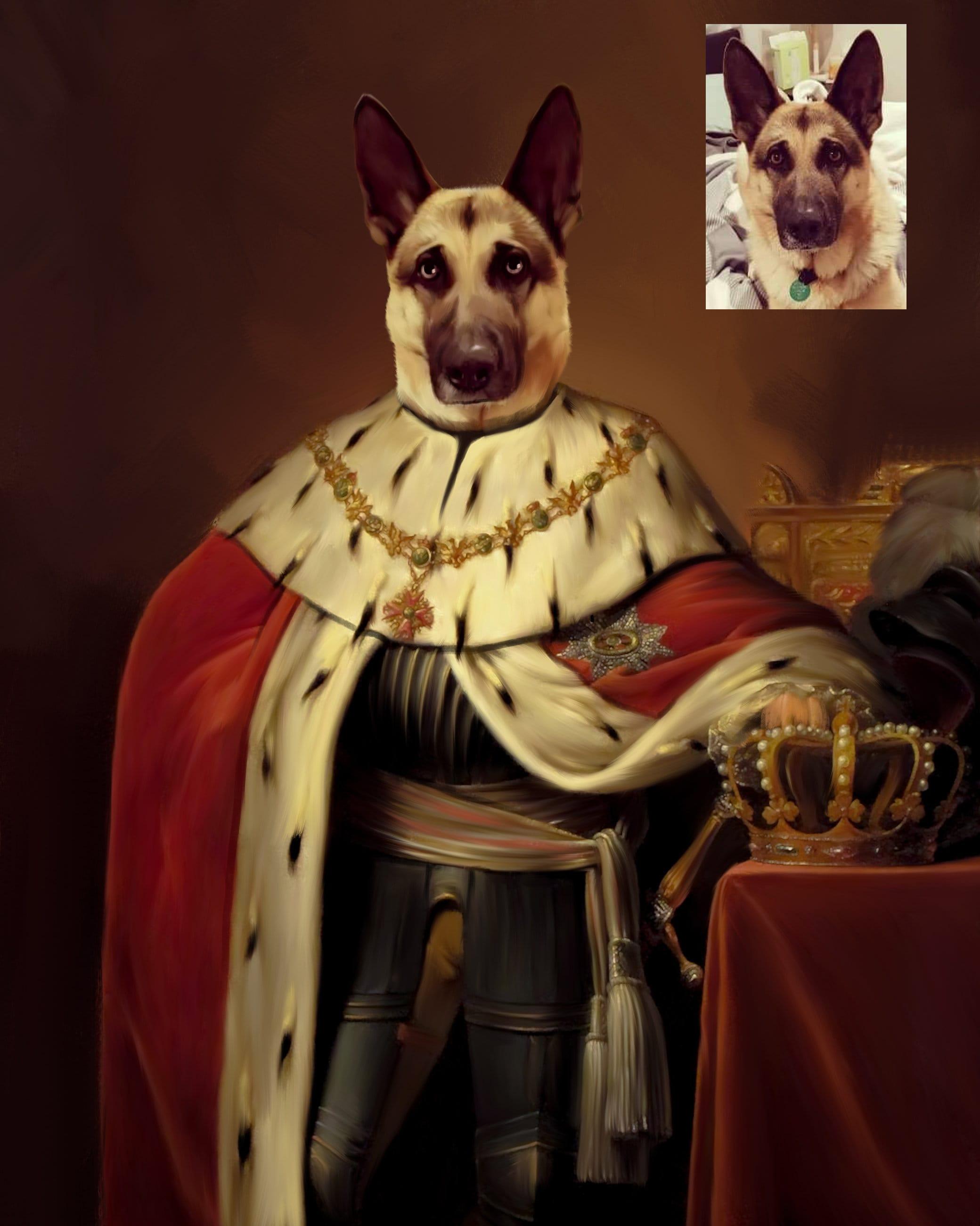 German shepherd owner gift   custom regal dog portrait.