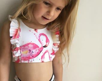 e8765841cd Swimsuit/ Girls Swimsuit/ toddler swimsuit/ swimwear/ kids swimsuit/ high  waist swimsuit/ girls high waist swimsuit/ flamingo ruffle swim