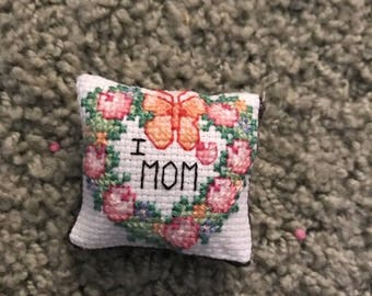 Tiny Cross Stitch Mothers Day Pillow