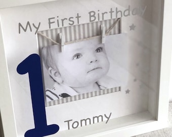 Personalised Babys 1st Birthday Photo Box Frame Baby Girl Boy Keepsake First Gift Present Room Decoration Love