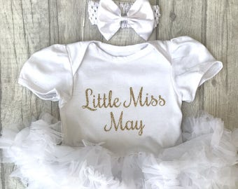 Little Miss March tutu romper with matching bow headband, White glitter, Birthday month, Baby girl, Princess Newborn, birthday girl, present