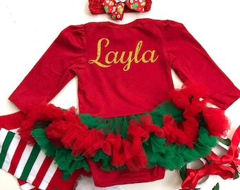 55766fda8ef6 Personalised Custom Baby Girl's First Christmas Outfit Set , Newborn Gift  Present, Christmas Tree Design Red White Green, Princess Cute Love